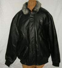Men's Black Leather Bomber Jacket, Size Medium By AE deMilano, Brand New