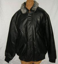Men's Black Leather Bomber Jacket, Size Medium By AE deMilano, Brand New