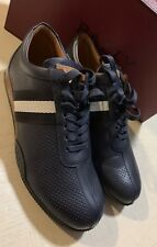 New $600 Bally Men Frenz Leather Sneakers Shoes Dark Blue 8 US Switzerland