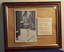 1934 Framed WILLY POGANY Book Plate Art Print A CHRISTMAS FOLK SONG w Poem