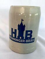 Henninger- Brau Brewery .5 Liter Stein Mug Vintage Stoneware Blue