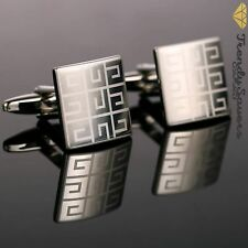 Men's Square Sterling Silver Plated Formal/Wedding Groom's Cufflinks #10