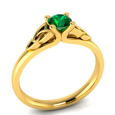 Demira Jewels Solitaire Emerald 14k Yellow Gold Ring