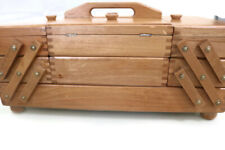 Vintage Large Wood Sewing Box / Acccordian / sewing caddy / Craft case