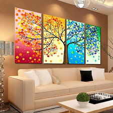 4Pcs Colorful Season Tree Canvas Print Wall Art Painting Picture Home Hall Decor
