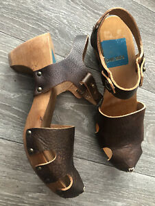 Vintage Diesel womans brown leather strap clogg shoes uk 6 RARE!!