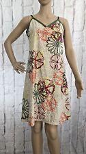 GAS Women's Floral NIDA Slip Dress Size L UK 12 Cream Green Cotton Party Sun NEW