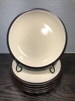 "MIKASA Terra Stone Vanilla Set Of 6 Salad Plates 7 3/4"" JAPAN Vintage E1955"