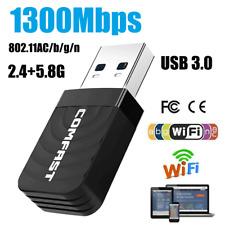 1300Mbps 2.4 / 5GHz Wireless Network USB WiFi Adapter Dongle PC Laptop Desktop j