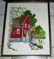 RED Home Water Wheel Vintage Needlepoint Embroidery Crewel Frame Picture 17 x 21