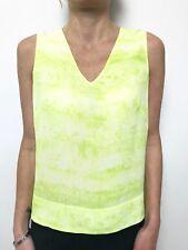 DAVID LAWRENCE lime white print sleeveless silk tunic top sz 10