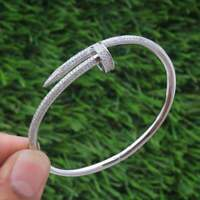 18k White Gold Over Nail Cuff Bangle For Women Round-Cut Diamond 6.25'' IN