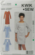 KwikSew Pattern #3560 Misses Straight Dress Neck Variation Size (XS-S-M-L-XL)