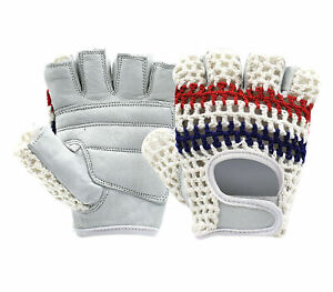 Sports Gloves Half Finger Leather With Crochet Back Padded Glove Vintage Style