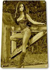 Gate Pinup Girl Sexy Country Cowgirl Farm Man Cave Wall Decor Metal Tin Sign