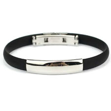 """Bracelet Stainless Steel Cuff Silicone Bangle Hand Chain Men""""s Jewelry F6"""