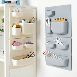 Wall Mounted Self Adhesive Storage Box Rack Shelf Bathroom Kitchen Organizer