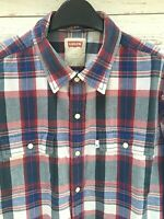 LEVI'S Levi Strauss Check Western Shirt Blue Red White Pearl Snap Poppers Large