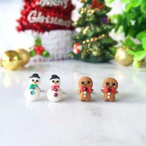 Handmade Xmas Snowman Gingerbread Man Polymer Clay Studs Earrings Christmas Stud