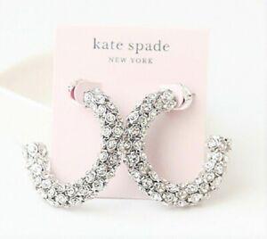 KATE SPADE Adore Ables Hoop Earrings Silver Tone