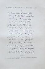 ZWEI SONETTE VON AUGUST GRAFEN VON PLATEN-HALLERMÜNDE 1897 Lithographie