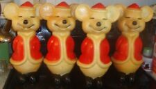 """Vintage Christmas 15"""" Union Lighted Blow Mold Mouse Outdoor Yard Ornament Tree"""