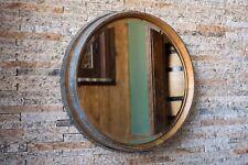Napa Valley Wine Barrel Mirror by Alpine Wine Design, Natural burgundy oak