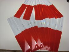"""WHITE RED Reflective   Conspicuity Tape  20 pc Strips 2""""-12"""