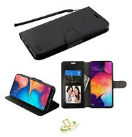 For LG Stylo 4 /Plus BLACK Leather Flip Wallet Phone Case Protector Cover +Strap