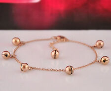 14K Rose Gold Stainless Steel Jingle Bell Charms Women's Chain Fashion Bracelet