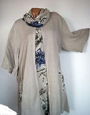 Leichte Sommer Tunika Kleid 2tlg.Schal Blumenmuster natur beige Gr.2  50 52 54