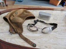 WWI US Leather Pilot's Helmet W/ Luxor Aviator GogglesW/Case