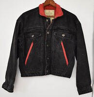 Vintage Bon Jour Medium Denim Black Jacket 1980s Red Faded 80s