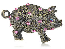 Ali Brass Plated Pink Crystal Rhinestone Piggie Pig Babe Pin Brooch Hot selling