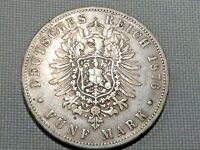 German Reich Prussia Silver 5 Mark 1876 A Kaiser Wilhelm Crowned Imperial Eagle