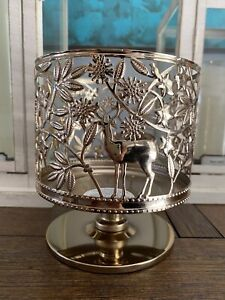 Bath Body Works Holiday Wildlife Gold Pedestal Large 3 Wick Candle Holder Sleeve