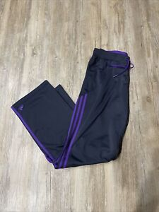 Adidas Women's Track Pants Black with Purple 3 Stripes Size M