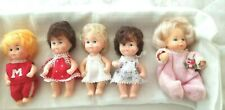 Vintage Lot of Five Mini Baby Dolls made in China All Clothed Molded Plastic