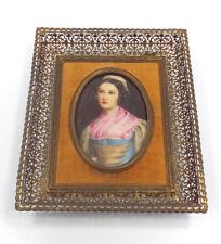 Antique German Porcelain Miniature Portrait of Lady Hans Frey Handarbeit Munchen