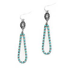 Western Concho Hook Earrings Silver and Turquoise Tone