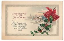GREETING YOU on the NEW YEAR Vintage Postcard Poem Holly Red Bells, Snow Scene