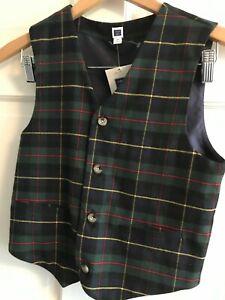 Janie and Jack Boys 12  Plaid Vest-BRAND NEW  holidays $54 Green plaid