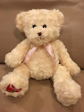 "Dakin Teddy Bear Plush Cream Curly Hair Foot Patch 16"" It's A GIRL Pink Ribbon"