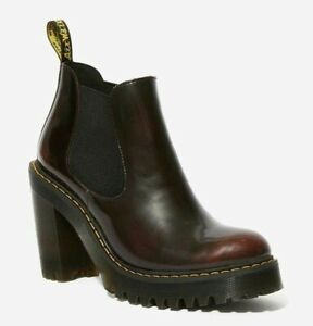 DR MARTENS HURSTON CHERRY RED ARCADIA LEATHER HEELED CHELSEA BOOTS  UK 9  EU 43