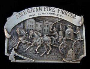 VTG. 1984 AMERICAN FIRE FIGHTER COMMEMORATIVE BELT BUCKLE #195/5000 US MADE