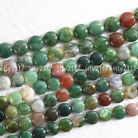 10mm Natural Indian Agate Onyx Coin Shape DIY Gemstone Loose Beads Strand 15""