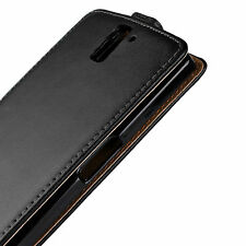 """For One Plus One 5.5"""" Black Genuine Real Leather Classic Slim Case Cover"""