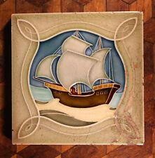 RARE Antique Blue Green Majolica Galleon Ship Boat Tile Victorian Old Minton?
