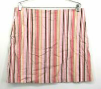 Cha Cha Vente Women's Large Pink Striped Knee Length Skirt Cotton Multicolor