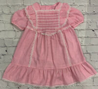 Vintage Girls Pink Gingham Checked Ruffle Lace Trim Dress Hand Smocked Size 3/4*